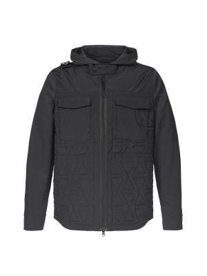 Lightweight Hooded Polygon Jacket-Jet Black