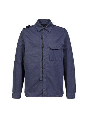 Zip Front Overshirt-True Navy