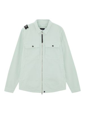Gd Zip Front Overshirt-Mist Green
