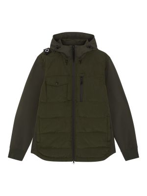 Softshell Down Quilt Hooded Jacket-Oil Slick