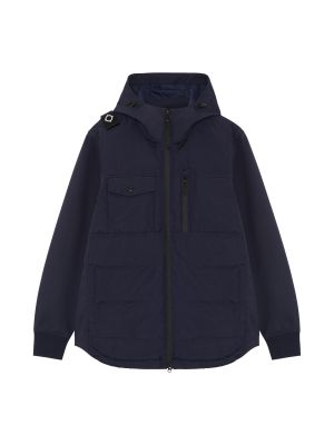 Softshell Down Quilt Hooded Jacket-Dark Navy