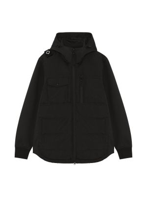 Softshell Down Quilt Hooded Jacket-Jet Black