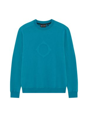 Embossed Compass Crew Sweat-Teal