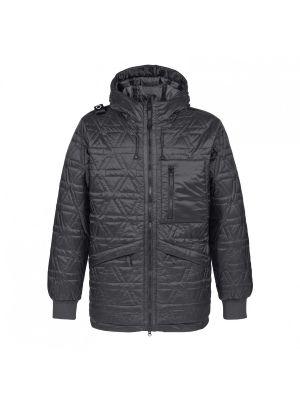 Polygon Quilt Hooded Jacket-Jet Black